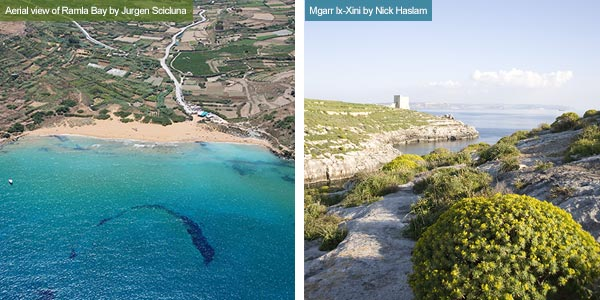 Ramla Bay and Mgarr Ix-Xini, Gozo. Photos by Jurgen Scicluna and Nick Haslam