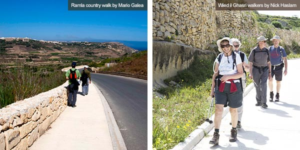 Walkers in Ramla countryside and Wied il Ghasri, Gozo. Photos by Mario Galea and Wied il Ghasri