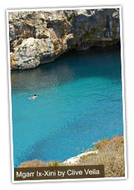 Swimmer at Mgarr Ix-Xini, Gozo. Photo by Clive Vella