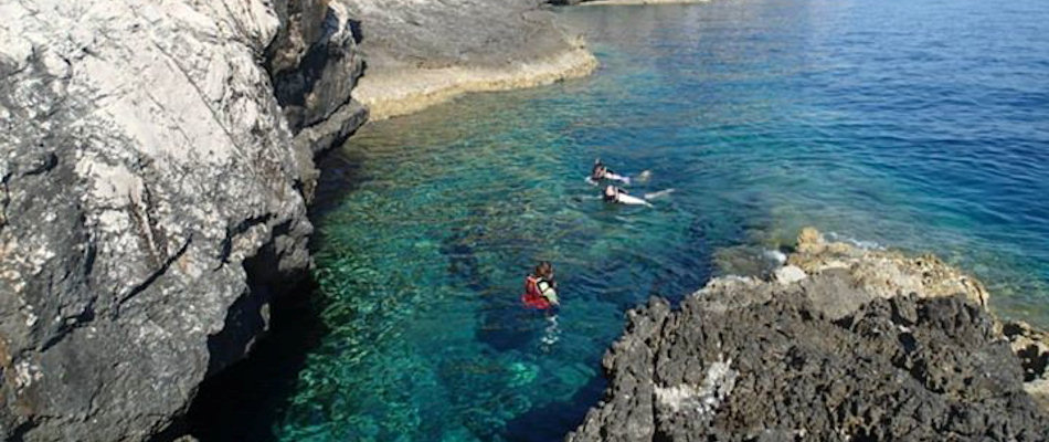 Sea cave swimming