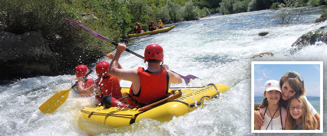 Mini rafting and (inset) Maria Budimir-Bekan