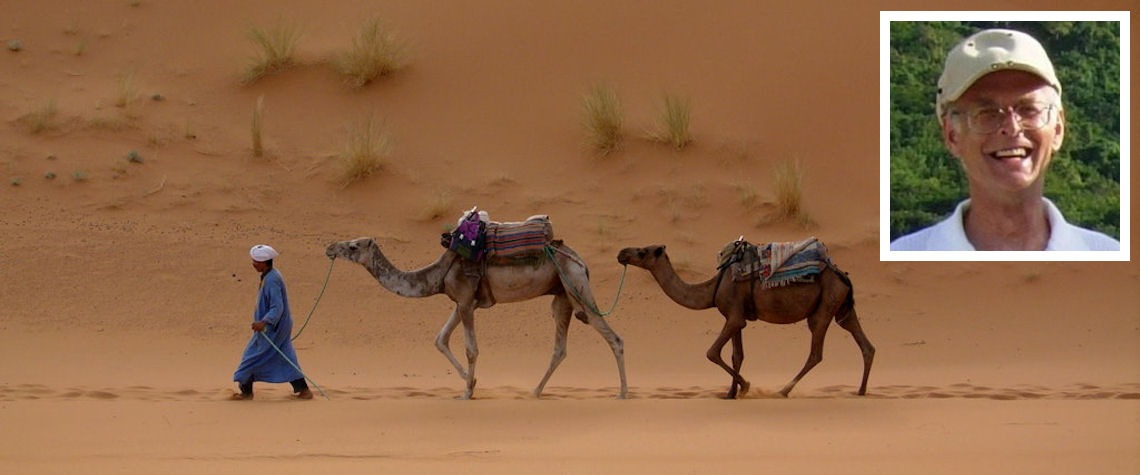 Sahara desert and (inset) Roddy MacLeod