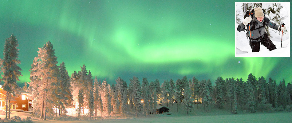Northern Lights and (inset) Tessa Kokkonen