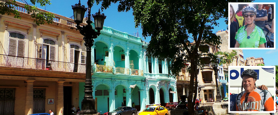Havana street and (inset) Stan and Susan Hills