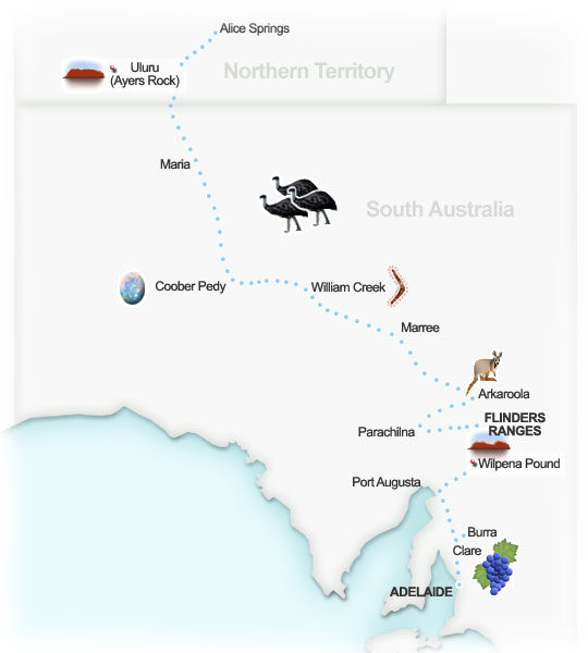 Explorer's Way itinerary, South Australia. Illustration by Lisa Joanes