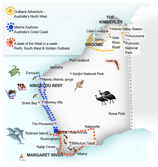 Australia West Coast Map.Western Australia Suggested Itineraries Insiders Travel Guide To