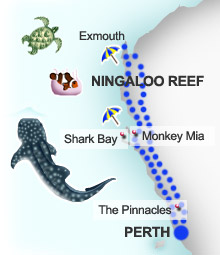 Map for coral coast itinerary, Western Australia
