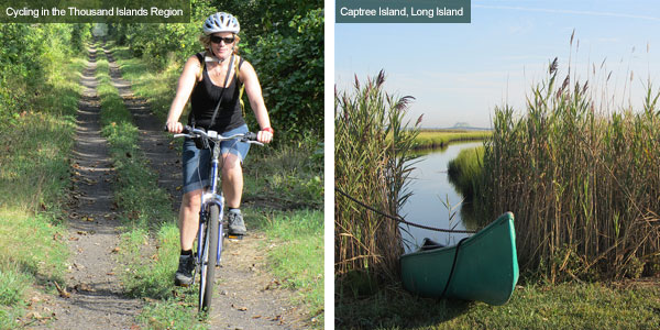 Cycling in the Thousand Islands Region and a kayak at Long Island, New York State. Photos by Catherine Mack