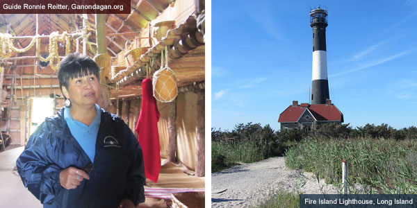Ganondagan guide and Fire island Lighthouse, New York State. Photos by Catherine Mack