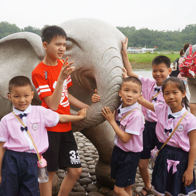 Group with stone elephant