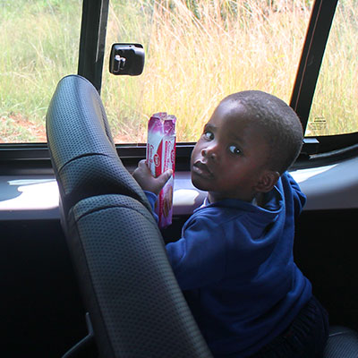 Child on minibus