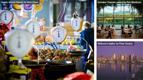 Queen Victoria Market, Domaine Chandon winery and Melbourne skyline, Victoria. Photos from Victoria Tourist Board