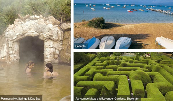 Peninsula Hot Springs and Day Spa, Sorrento and Ashcombe Maze, Victoria. Photos from Victoria Tourist Board