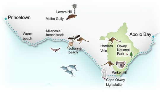 Great Ocean Road route map. Illustration by Lisa Joanes
