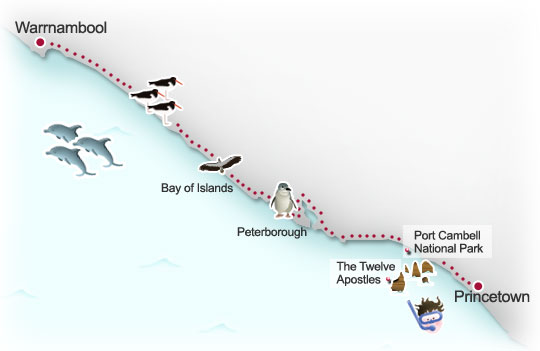 Princetown to Warrnambool route map. Illustration by Lisa Joanes