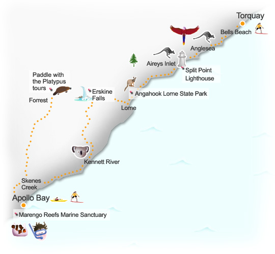 Torquay to Apollo route map. Illustration by Lisa Joanes