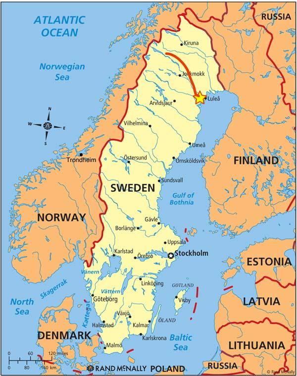 New Year Northern Lights Wildlife Holiday Swedish Lapland - Sweden lapland map