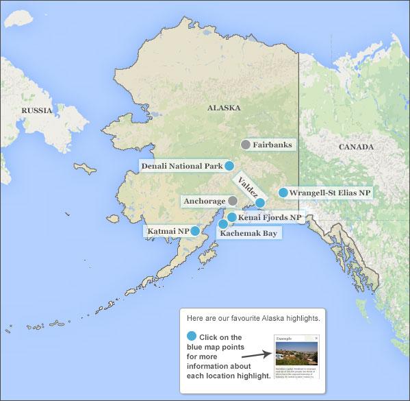 Alaska holidays travel guide – Alaska Travel Map