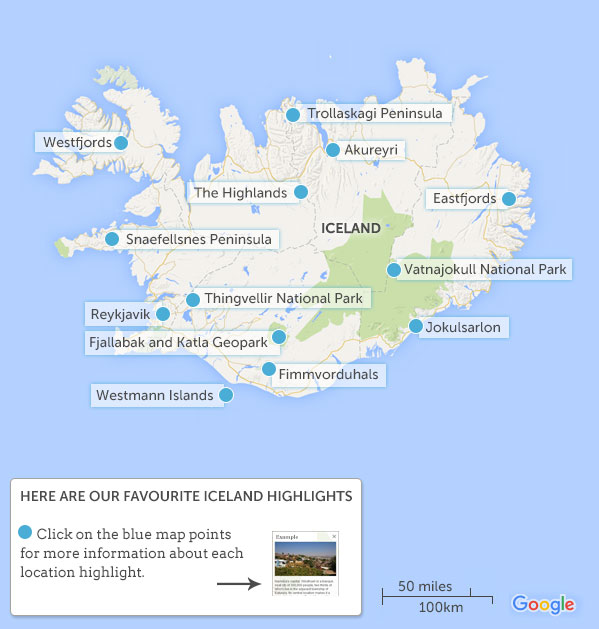 Iceland map and highlights Responsible travel guide to Iceland with – Tourist Attractions Map In Iceland