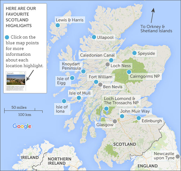 Scotland highlights and itineraries Responsible travel guide to – Train Travel In Scotland Map