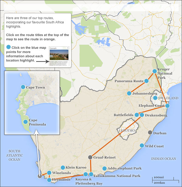 South africa itineraries maps suggested south africa with itineraries from - Cape town to port elizabeth itinerary ...