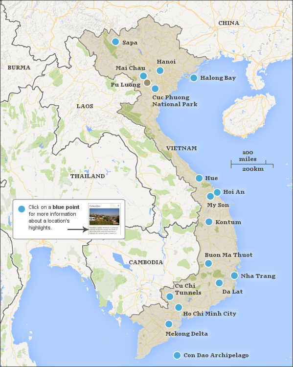 Vietnam itineraries Vietnam travel itineraries and highlights – Vietnam Tourist Attractions Map