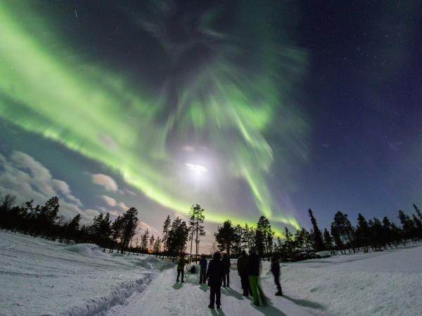Christmas holiday in Finland, Northern Lights over Lake Inari