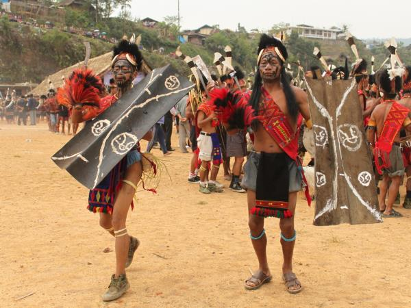 Tattooed Headhunting tribes Aoling festival in Nagaland, India