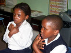 Volunteer with deaf children in South Africa