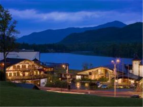 Lake Placid lakeside hotel, New York State, USA