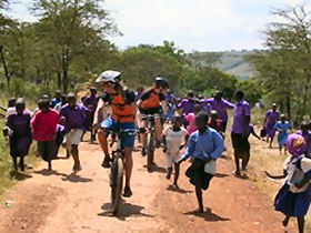Biking with the kids in Tanzania