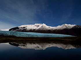 Svinafell Glacier and Lagoon at Midnight