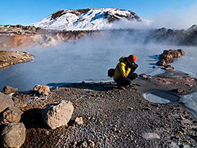 Photographing geothermal Activity