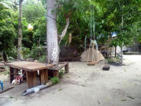 The vol hang out area backs onto the rainforest.