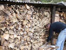 Log store for the open fire (Fraoch Lodge, Scotland - perfect for walkers)