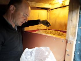 Filling the pellet hopper for the biomass boiler at Fraoch Lodge, Cairngorms