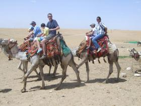 Family Ride at The Pyramids, Cairo