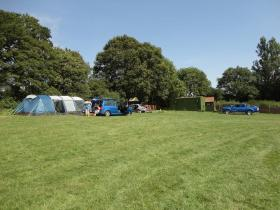 Campers getting ready for a sunny weekend