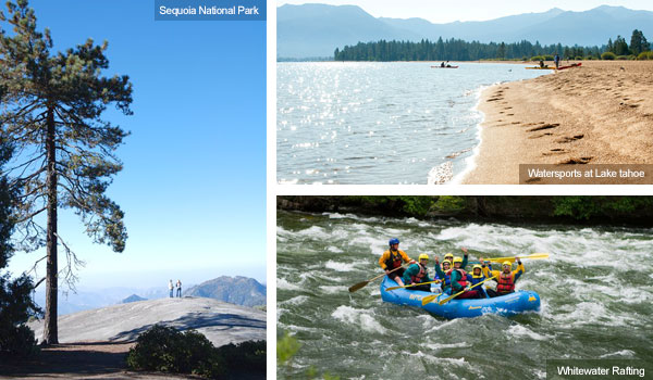 Sequoia National Monument, watersports at Lake Tahoe and whitewater rafting
