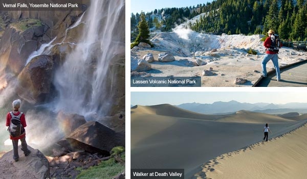 Waterfall, Lassen Volcanic National Park and Death Valley