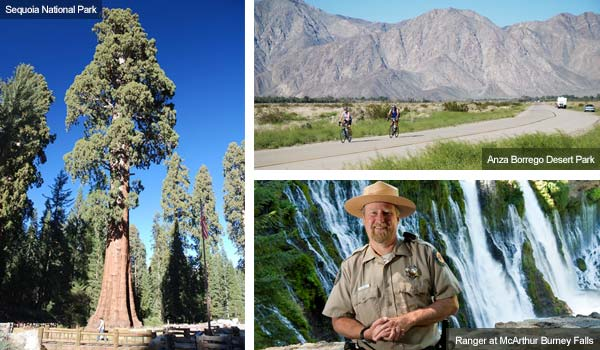 Sequoia National Park, Anza-Borrego Desert Park and Ranger at McArthur Burney falls