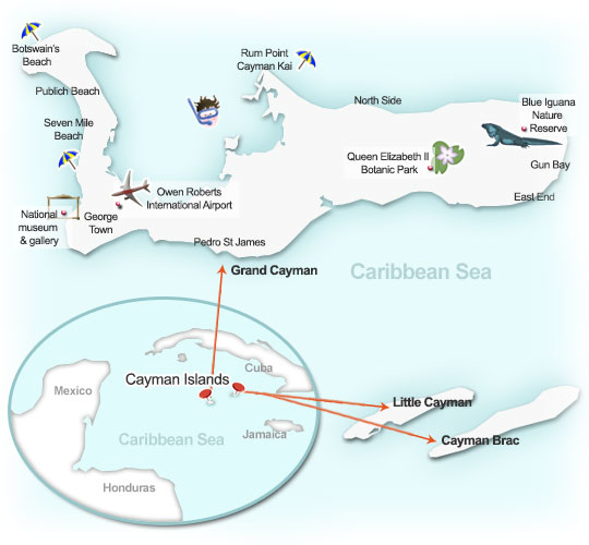 Cayman Islands map. Illustration by Lisa Joanes
