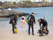 Divers at Costa Teguise, Lanzarote. Photo by Nick Haslam