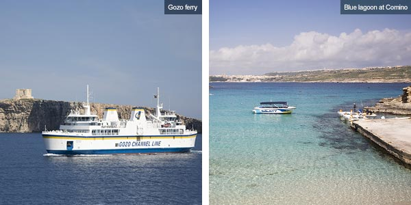 Comino ferry and the Blue Lagoon at Comino, Gozo. Photos by Nick Haslam