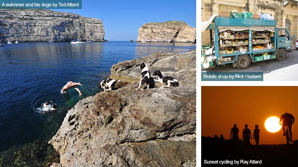 Swimmer, mobile shop and cyclists at sunset, Gozo. Photos by Ted Attard, Nick Haslam and Ray Attard