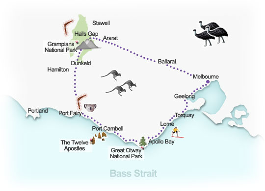 Great Southern Touring Route. Illustration by Lisa Joanes