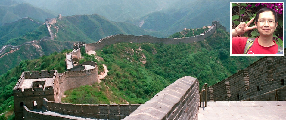 Great Wall of China and (inset) Dennis