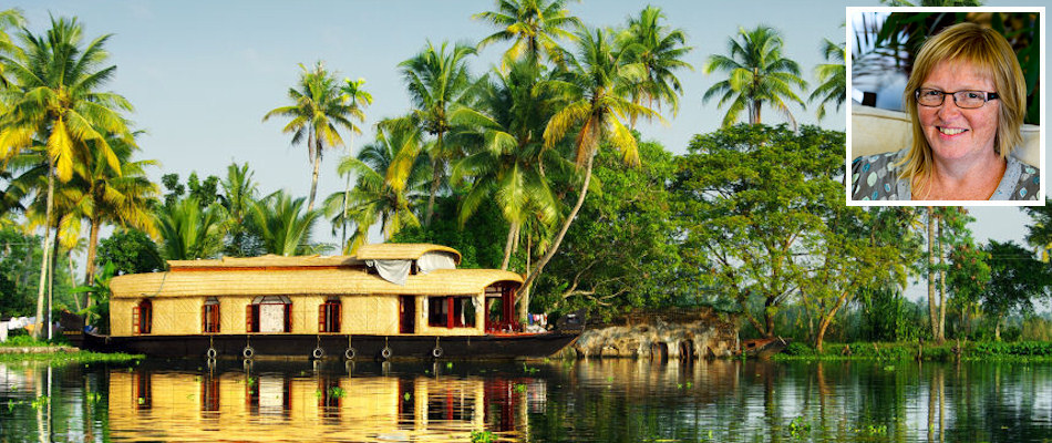 Kerala houseboat and (inset) Lyn Hill
