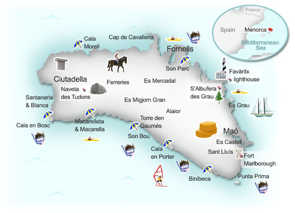 Map of Menorca. Illustration by Lisa Joanes