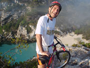 Cyclist on top of a cliff, Menorca. Photo from Audax Hotel